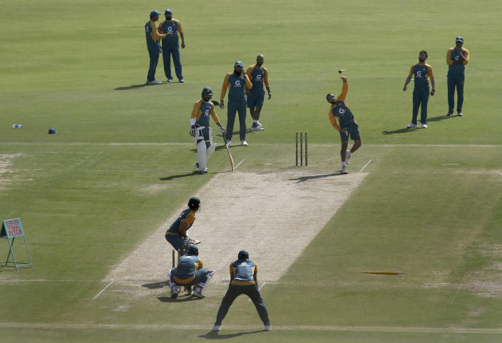 Players of Pakistan Cricket Team attend a practice session for an upcoming test match against South Africa at National Stadium in Karachi, Pakistan, Friday, Jan. 22, 2021. Pakistan will play the first test match on Jan. 26, against South Africa, which arrived in the southern port city of Karachi last Saturday for the first time in nearly 14 years. (AP Photo/Fareed Khan)