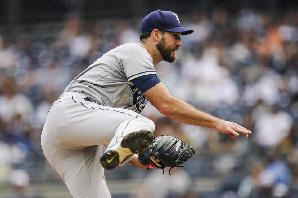Tampa Bay Rays' Michael Wacha pitches during the first inning of a baseball game against the New York Yankees Sunday, Oct. 3, 2021, in New York. (AP Photo/Frank Franklin II)