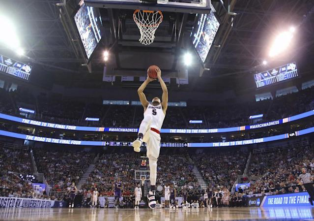 <p>Gonzaga guard Nigel Williams-Goss (5) prepares to dunk the ball during the first half of a second-round college basketball game against Northwestern in the men's NCAA Tournament Saturday, March 18, 2017, in Salt Lake City. (AP Photo/Rick Bowmer ) </p>