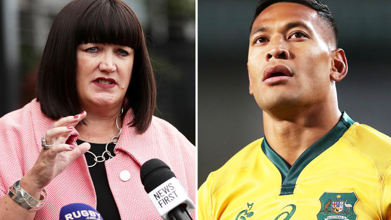 Raelene Castle and Israel Folau, pictured here in their time with Rugby Australia.