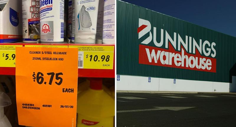 Bunnings label and Bunnings store pictured.