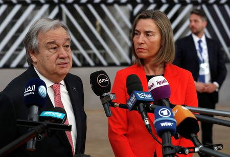 United Nations Secretary General Antonio Guterres and European Union foreign policy chief Federica Mogherini arrive at an international conference on the future of Syria and the region, in Brussels, Belgium, April 5, 2017. REUTERS/Yves Herman