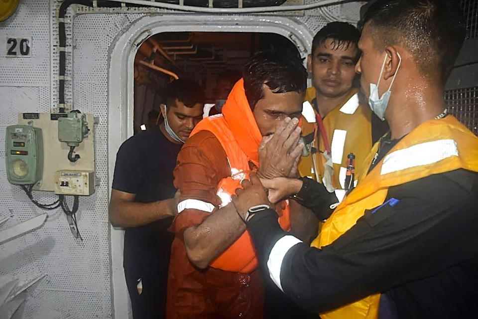Man rescued by the Indian navyINDIAN NAVY/AFP via Getty Images