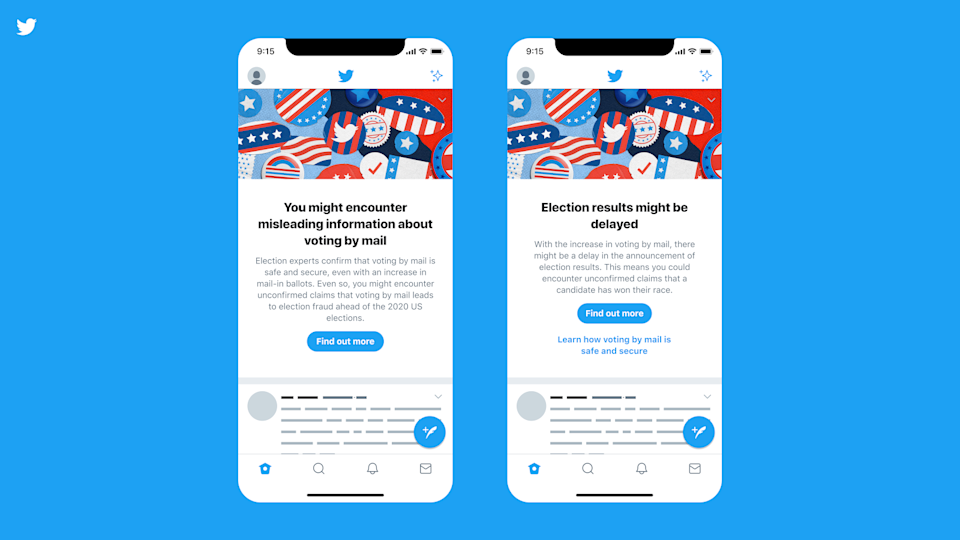 Screenshots of the prompts Twitter users will see related to the 2020 U.S. election.