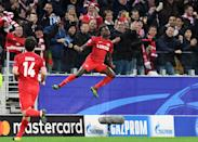 Spartak Moscow's Quincy Promes celebrates after scoring a goal during their UEFA Champions League Group E first leg match, at the Otkrytie Arena stadium in Moscow, on October 17, 2017 (AFP Photo/Kirill KUDRYAVTSEV)