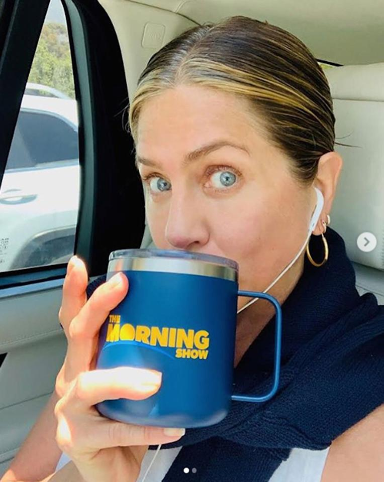 """<em><a href=""""https://people.com/style/reese-witherspoon-jennifer-aniston-react-kim-kardashian-legally-blonde-halloween-costume/"""" target=""""_blank"""">The Morning Show</a></em><a href=""""http://people.com/tag/jennifer-aniston"""">actress</a> celebrated the release of a new episode with a """"Mugshot"""" of herself holding a large coffee cup featuring the name of the <a href=""""https://people.com/tv/the-morning-show-review-jennifer-aniston-reese-witherspoon/"""" target=""""_blank"""">new Apple TV+ Series,</a> whichalso stars actress <a href=""""http://people.com/tag/reese-witherspoon"""">Reese Witherspoon</a>.""""New episode of <a href=""""https://www.instagram.com/themorningshow/"""">@themorningshow</a> out TODAY 👏🏼)"""" she captioned <a href=""""https://www.instagram.com/p/B4nGBApBny6/?igshid=m92c4bfmbgc"""" target=""""_blank"""">the photo.</a>"""