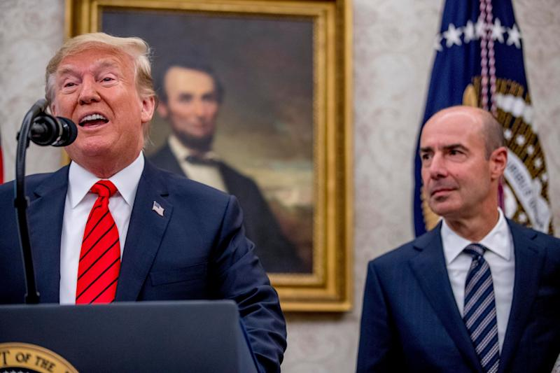 President Donald Trump with Labor Secretary Eugene Scalia in the Oval Office at Scalia's swearing-in last September. (Photo: Andrew Harnik/ASSOCIATED PRESS)
