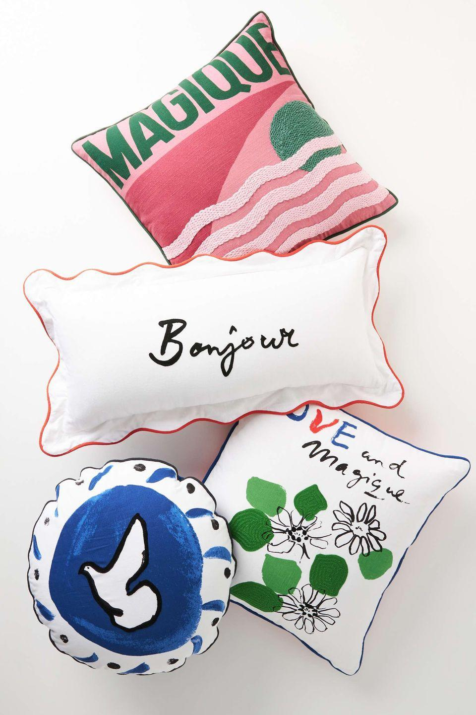 """<p>These cushions are the result of a collaboration between graphic designer Milou Neelen's Hotel Magique label and Anthropologie. The collection comprises tableware, posters, textiles, candles in wonderfully retro designs inspired by hotels – many feature words of positive affirmation in a charmingly loose handwriting. Cushions from £48, <a href=""""https://www.anthropologie.com/en-gb/brands/hotel-magique"""" rel=""""nofollow noopener"""" target=""""_blank"""" data-ylk=""""slk:anthropologie.com"""" class=""""link rapid-noclick-resp"""">anthropologie.com</a></p>"""