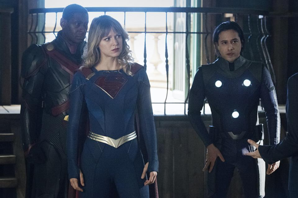 The Martian Manhunter (David Harewood), Supergirl (Melissa Benoist), and Brainiac-5 (Jesse Rath) in Supergirl. (Warner TV)