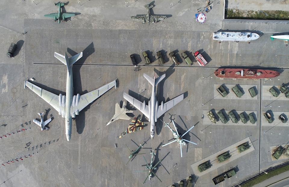 SVERDLOVSK REGION, RUSSIA  AUGUST 14, 2021: A Mikoyan-Gurevich MiG-15UTI jet training aircraft, a Soviet Myasishchev M-4 strategic bomber (NATO reporting name Bison), and a Tupolev Tu-16LL flying laboratory, from left, on display at the museum complex of the Ural Mining and Metallurgical Company (UMMC) during Russian Air Force Day celebrations. Donat Sorokin/TASS (Photo by Donat Sorokin\TASS via Getty Images)