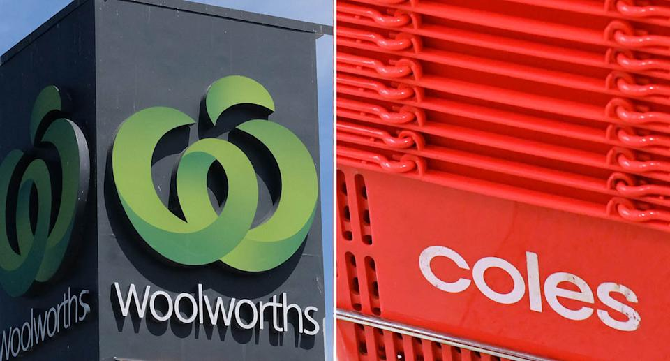 Stock images of Woolworths sign (left) and Coles shopping baskets (right). Source: AAP