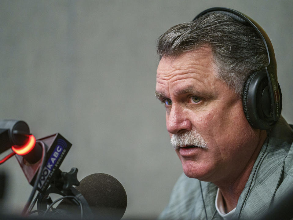Orrin Heatlie, the main organizer for the Recall of California Gov. Newsom campaign, records a radio program at the KABC radio station studio in Culver City, Calif., Saturday, March 27, 2021. (AP Photo/Damian Dovarganes)