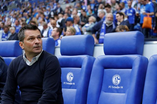 Soccer Football - Bundesliga - Schalke 04 vs Borussia Dortmund - Veltins-Arena, Gelsenkirchen, Germany - April 15, 2018 Schalke sporting director Christian Heidel before the match REUTERS/Leon Kuegeler DFL RULES TO LIMIT THE ONLINE USAGE DURING MATCH TIME TO 15 PICTURES PER GAME. IMAGE SEQUENCES TO SIMULATE VIDEO IS NOT ALLOWED AT ANY TIME. FOR FURTHER QUERIES PLEASE CONTACT DFL DIRECTLY AT + 49 69 650050