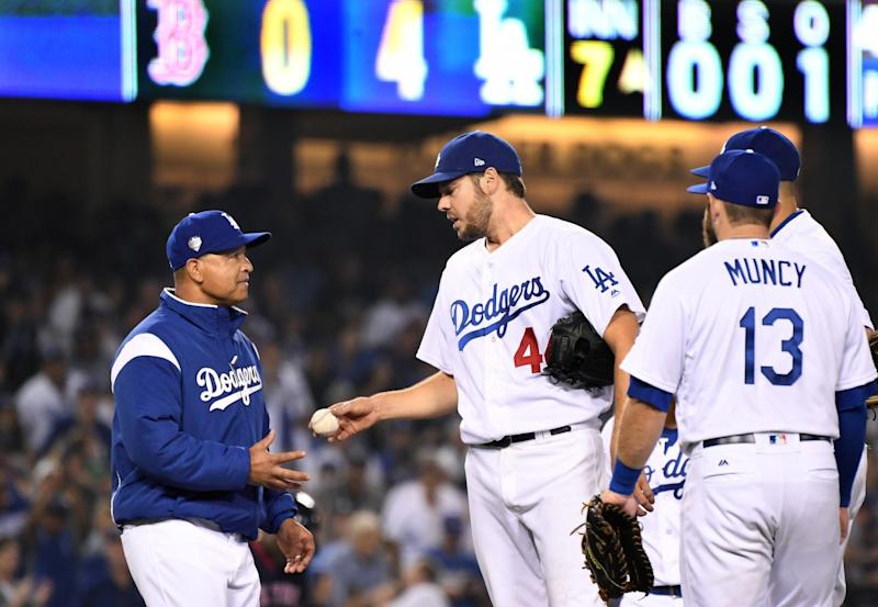 Los Angeles Dodgers manager Dave Roberts pulls starting pitcher Rich Hill.