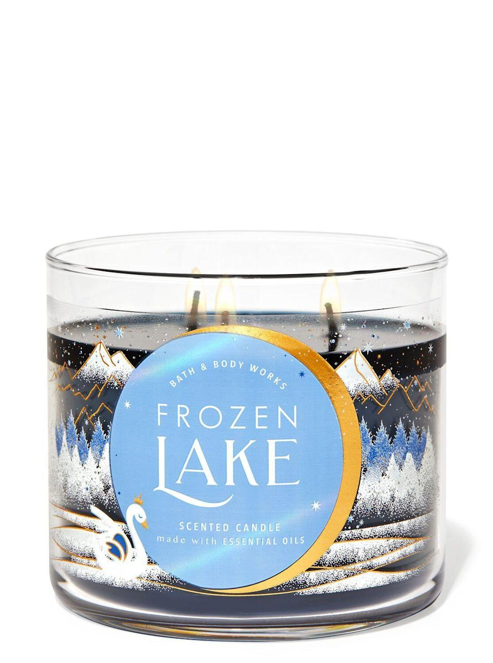 "<p><strong>Bath & Body Works</strong></p><p>bathandbodyworks.com</p><p><strong>$24.50</strong></p><p><a href=""https://www.bathandbodyworks.com/p/frozen-lake-3-wick-candle-026180764.html"" rel=""nofollow noopener"" target=""_blank"" data-ylk=""slk:Shop Now"" class=""link rapid-noclick-resp"">Shop Now</a></p><p>If you've been missing the allure of your first crush right after gym class—aka so much Axe—then this is your best friend. <strong>More smell deets pls</strong></p>"