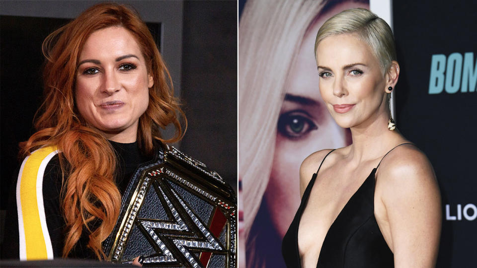 WWE star Kofi Kingston said he would like to see Academy Award winner Charlize Theron (pictured right) against a wrestler such as Becky Lynch (pictured left), to. which the movie star accepted. (Getty Images)