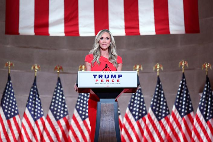 Lara Trump, an adviser to the Trump re-election campaign and wife of the president's son Eric, delivers a pre-recorded address to the largely virtual 2020 Republican National Convention from the Mellon Auditorium in Washington, U.S., August 26, 2020. REUTERS/Tom Brenner