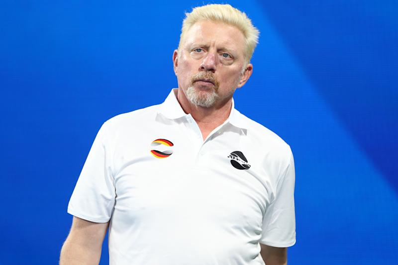 BRISBANE, AUSTRALIA - JANUARY 05: Team Germany Captain Boris Becker looks on during the match between Jan-Lennard Struff of Germany against Michail Pervolarakis of Greece during day three of the 2020 ATP Cup Group Stage at Pat Rafter Arena on January 05, 2020 in Brisbane, Australia. (Photo by Chris Hyde/Getty Images)