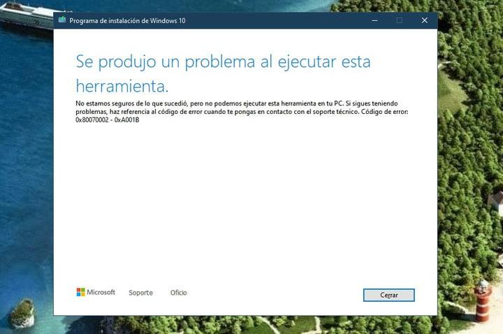 Códigos de error en la instalación d -windows 10