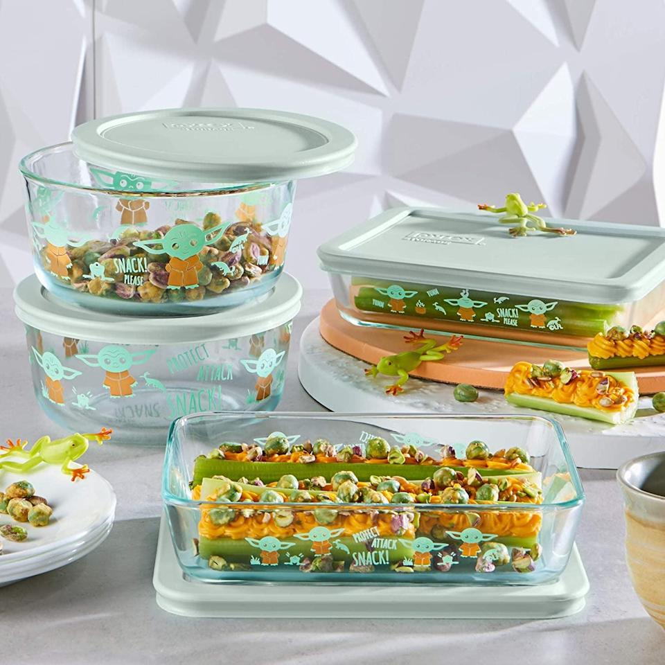 <p>The <span>Pyrex Disney Star Wars The Child Decorated Glass Set Food Storage, 8 Piece</span> ($40) will add a dash of personality to your fridge. </p>