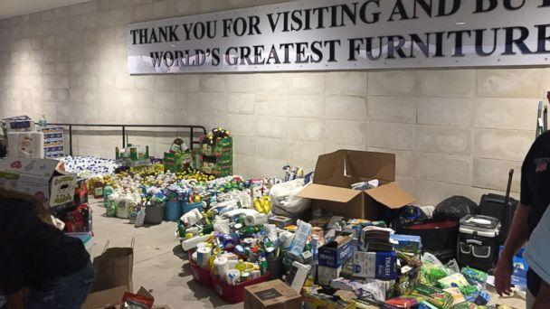PHOTO: Supplies for evacuees inside the Mattress Mack stores in Houston. (ABC News )