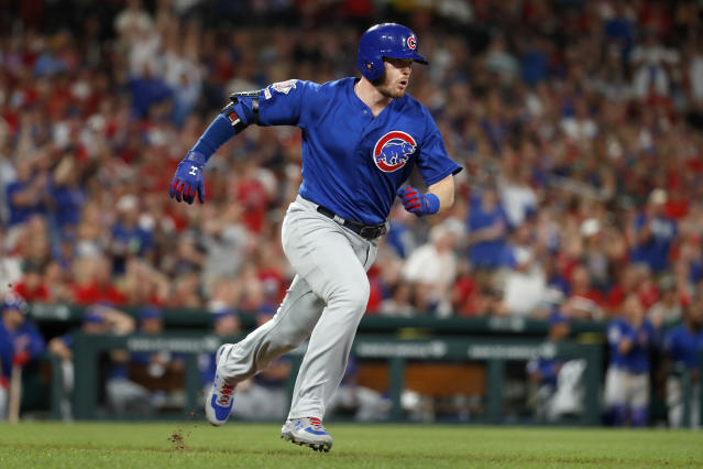 Chicago Cubs' Ian Happ heads to first on an RBI single during the sixth inning of the team's baseball game against the St. Louis Cardinals on Wednesday, July 31, 2019, in St. Louis. (AP Photo/Jeff Roberson)