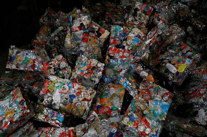 FILE PHOTO: Packages of separated cans are seen at Amarsul plant in Seixal