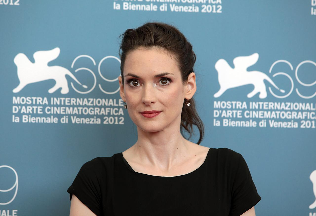"Winona Ryder attends ""The Iceman"" Photocall during the 69th Venice International Film Festival at Palazzo del Casino on August 30, 2012 in Venice, Italy."