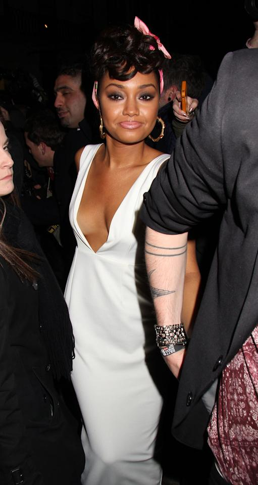 Celebs flashing side boob: Little Mix's Leigh-Anne Pinnock flashed her boobs at the BRITs 2013. Copyright [Rex]