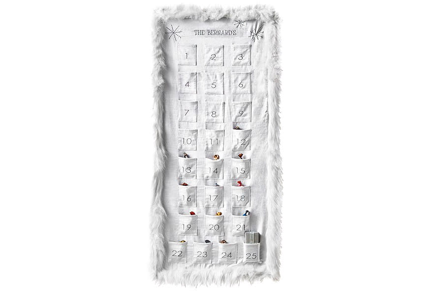 """<p>Give your traditional advent calendar a luxe wintery upgrade with ultra soft faux-fur trim that will bring whimsy to your little one's holiday.</p> <p><strong>To buy:</strong> $79; <a rel=""""nofollow"""" href=""""http://pbkids.7eer.net/c/249354/267850/4333?subId1=RS,CHR,DAI,5AmazingAdventCalendars,agouras,201711,I&u=https%3A%2F%2Fwww.potterybarnkids.com%2Fproducts%2Fmonique-lhuillier-advent-calendar%2F%3Fpkey%3Dcchristmas-advent-calendar%26isx%3D0.0.984+"""">potterybarnkids.com</a>.</p>"""