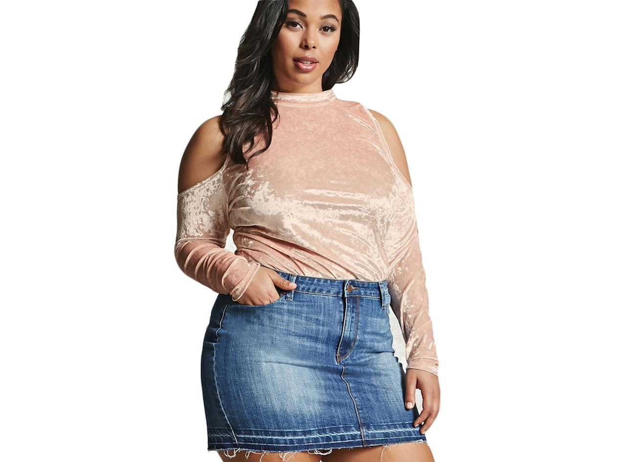 """<p>Crushed Open Shoulder Velvet Top, $15.90,<a rel=""""nofollow"""" href=""""http://www.forever21.com/Product/Product.aspx?BR=plus&Category=plus_size-tops&ProductID=2000267952&VariantID"""">Forever21</a>. </p>"""
