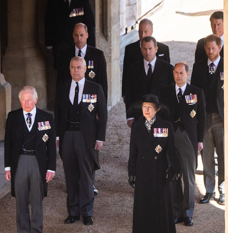 Members of the royal family at Prince Philip's funeral