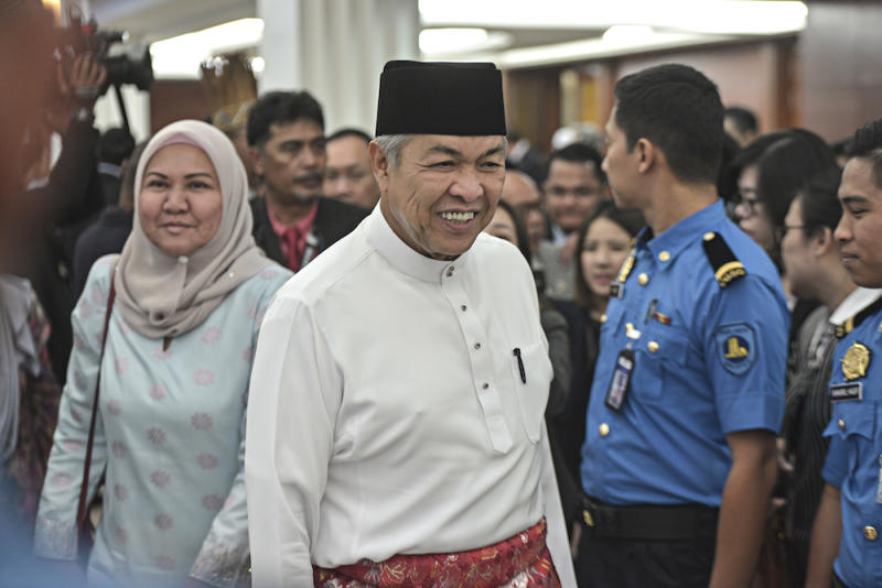 Datuk Seri Ahmad Zahid Hamidi is seen in Parliament October 11, 2019, ahead of the tabling of Budget 2020.― Picture by Shafwan Zaidon