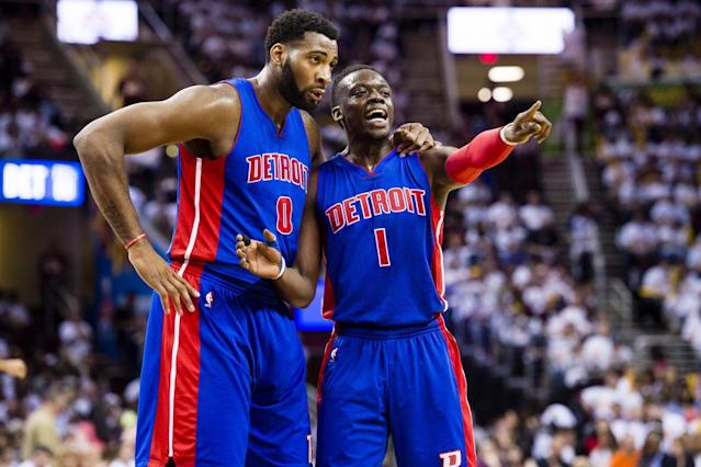 The pick-and-roll partnership of Andre Drummond (left) and Reggie Jackson fuels the Pistons' offense. (Getty Images)