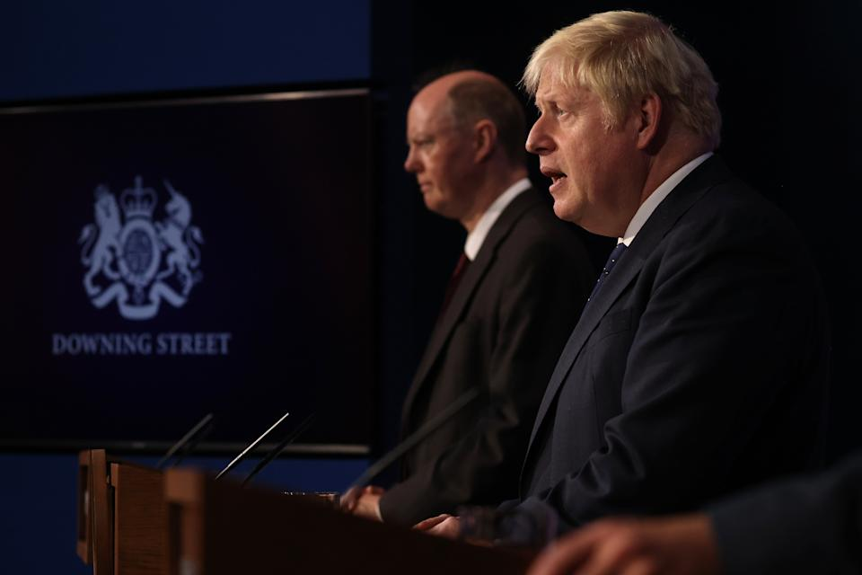 Prime Minister Boris Johnson during a media briefing in Downing Street, London, on coronavirus (Covid-19). Picture date: Tuesday September 14, 2021.