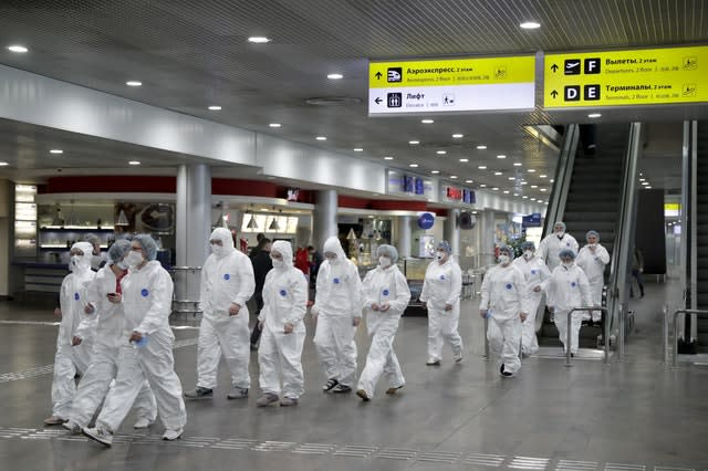 Medical teams at Sheremetyevo airport outside Moscow