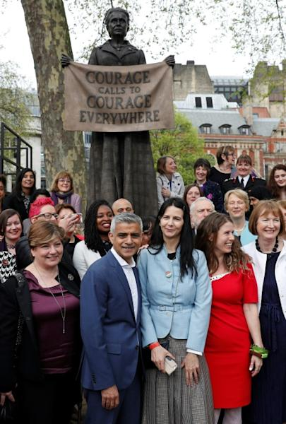 British artist Gillian Wearing (centre R) attended with Mayor Sadiq Khan (centre L) and British journalist and campaigner Caroline Criado Perez (3R) for the unveiling of her sculpture