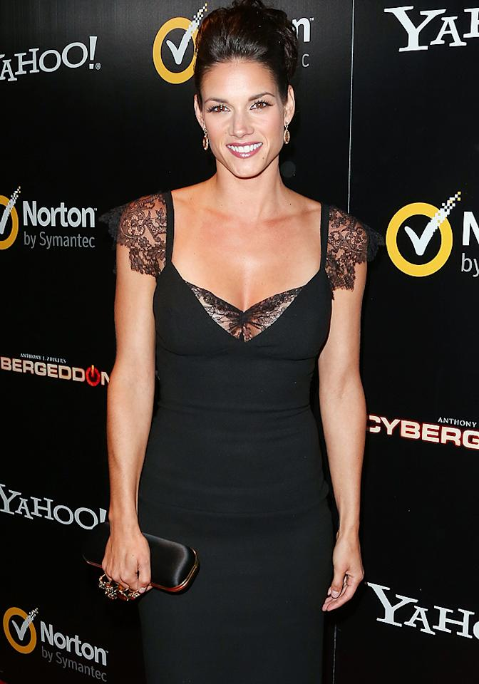 """<p class=""""MsoNormal"""">Missy Peregrym, who co-stars with Martinez as agent Chloe Jocelyn, was dressed to kill in a form-fitting black lace dress. In the series, the """"Rookie Blue"""" actress is tasked with taking down Martinez and his cyber-crime ring before they can """"shut down the world"""" – but not before she herself is accused of cyber terrorism. (9/24/12)</p><p class=""""MsoNormal""""><a target=""""_blank"""" href=""""http://cybergeddon.yahoo.com/#home"""">Check out Anthony E. Zuiker's """"Cybergeddon""""</a></p>"""