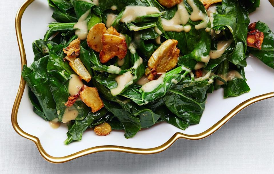 "Flip the script on a winter vegetable that's usually stewed: Collards are great when briefly sautéed. <a href=""https://www.bonappetit.com/recipe/sauteed-collard-greens-with-caramelized-miso-butter?mbid=synd_yahoo_rss"" rel=""nofollow noopener"" target=""_blank"" data-ylk=""slk:See recipe."" class=""link rapid-noclick-resp"">See recipe.</a>"