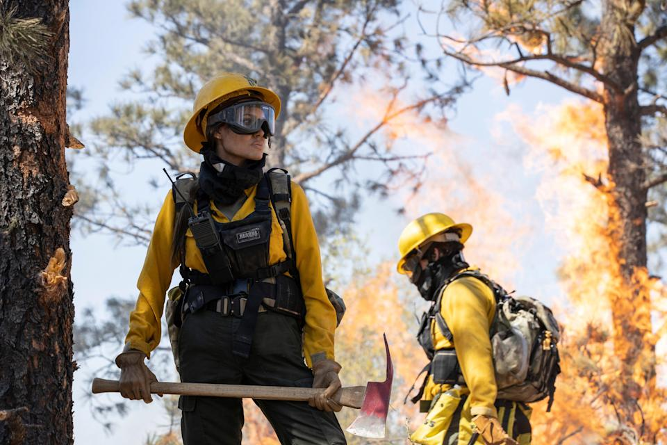 """Hannah (Angelina Jolie) is haunted by a firefighting mission gone terribly wrong in """"Those Who Wish Me Dead."""""""