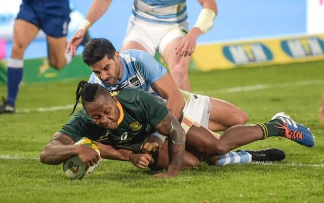 South Africa wing Sibusiso Nkosi scored two brilliant tries against Argentina (AFP Photo/Christiaan Kotze)