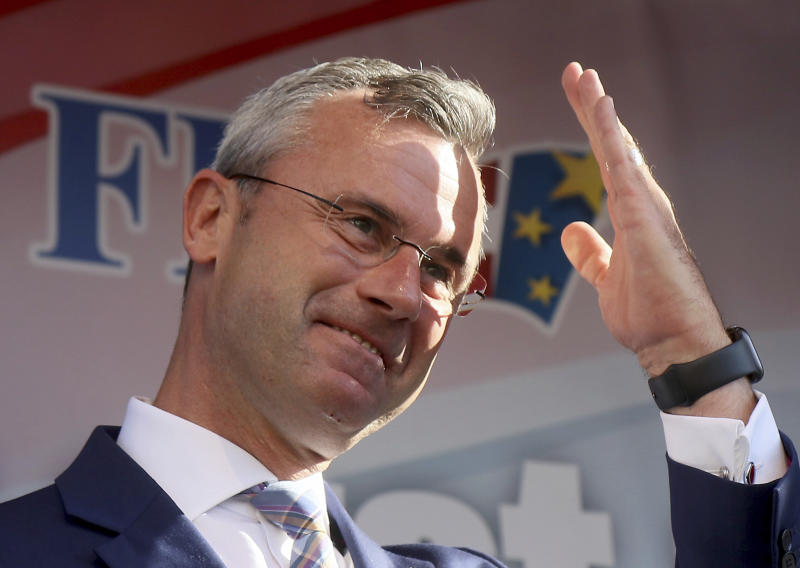 In this Friday, May 24, 2019, file photo, designated leader of the right-wing Freedom Party, FPOE, Norbert Hofer waves to his supporters during the final election campaign event for European elections in Vienna. Austria. Austria's far-right Freedom Party elected former minister and presidential candidate Norbert Hofer as its leader on Saturday as it seeks to return to government in a Sept. 29, 2019, national election. (AP Photo/Ronald Zak)