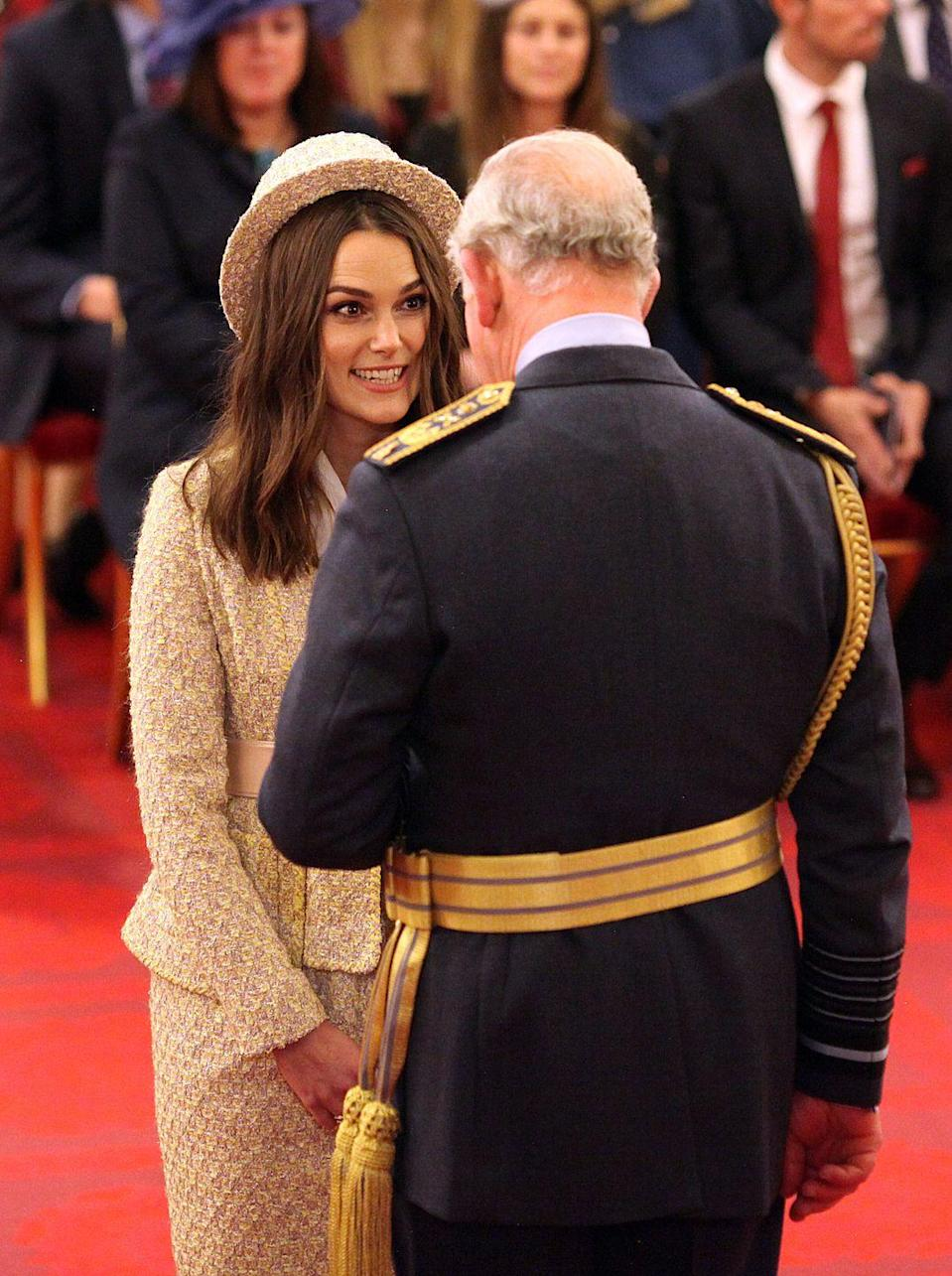 <p>Prince Charles appointed Knightley an Officer of the Order of the British Empire (OBE) in December 2018.</p>