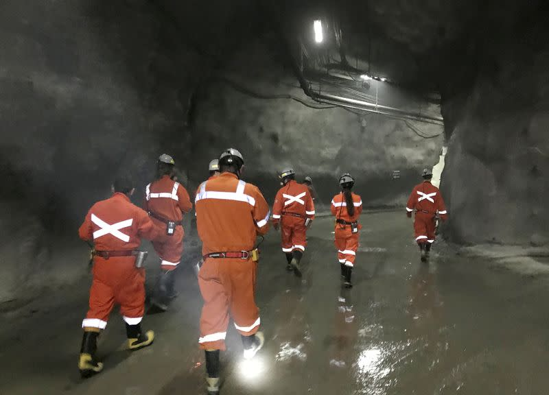 FILE PHOTO: An industry tour group walk inside the Codelco El Teniente copper mine, the world's largest underground copper mine near Machali, Chile