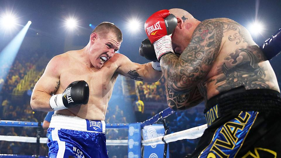 Seen here, Paul Gallen punches Lucas Browne during their heavyweight showdown.