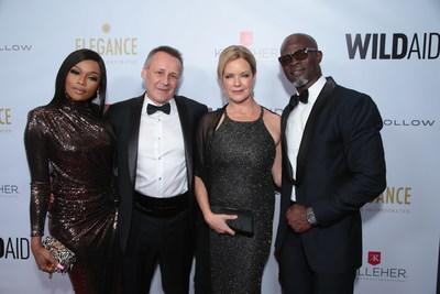 Bonang Matheba, Peter Knights, Corie Knights and Djimon Hounsou attend the WildAid Gala at the Beverly Wilshire Hotel on November 9, 2019 in Beverly Hills, CA