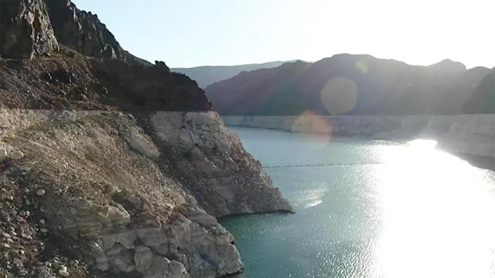 Water levels at Lake Mead have dropped precipitously due to the ongoing western drought. / Credit: CBS News
