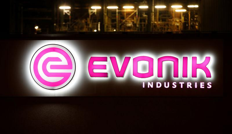 FILE PHOTO: The logo of German specialty chemical company Evonik Industries AG at their plant in Bitterfeld
