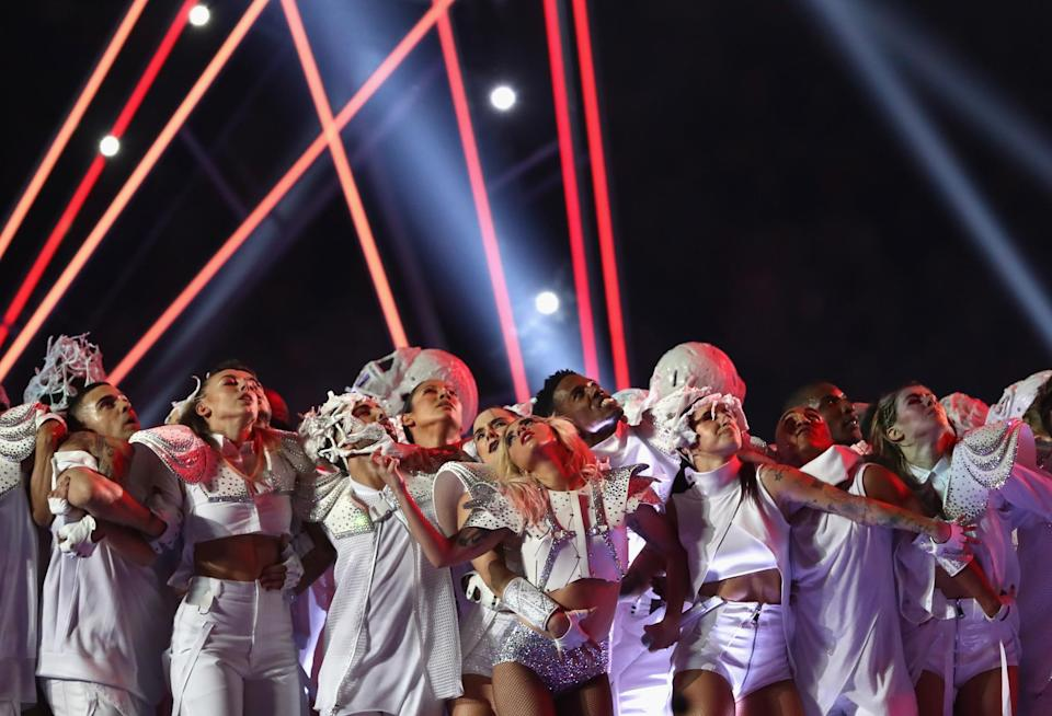 <p>Lady Gaga performs during the Pepsi Zero Sugar Super Bowl 51 Halftime Show at NRG Stadium on February 5, 2017 in Houston, Texas. (Photo by Elsa/Getty Images) </p>