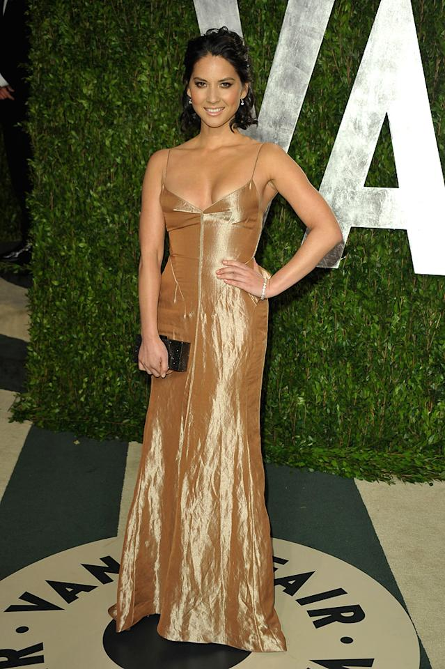 Olivia Munn arrives at the 2012 Vanity Fair Oscar Party in Los Angeles, CA.